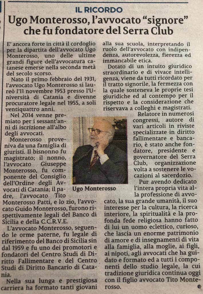 Ricordo Avv. Ugo Monterosso